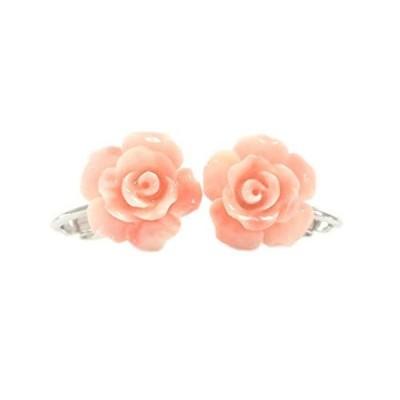 ピンクコーラルカラー イヤリング バラ 12? (樹脂:深海珊瑚色) jue-A0004