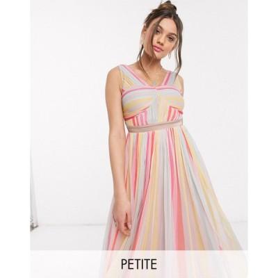 アナヤ ミディドレス レディース Anaya With Love Petite cross neck pleated midi dress in stripe print エイソス ASOS マルチカラー