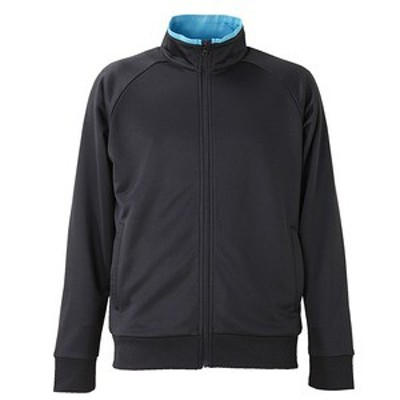 UVカット・吸汗速乾・ドライジャージパイルフルジップラグランスリーブジャケット ブラック/ターコイズ ブルー M