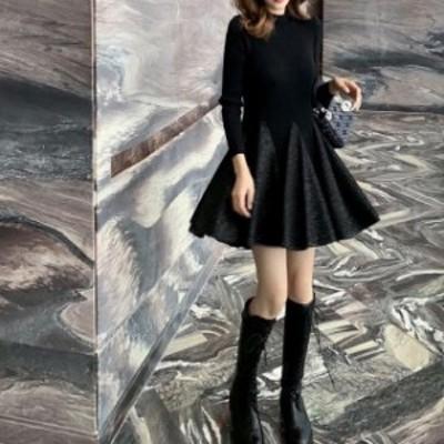 新作 春 パーティー ドレス ワンピース 二次会 食事会 同窓会 デート ミニ丈 黒 可愛い オシャレ シンプル フレアスカート