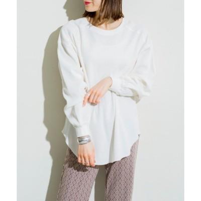 tシャツ Tシャツ ワッフルクルーネック裾ヘムプルオーバー