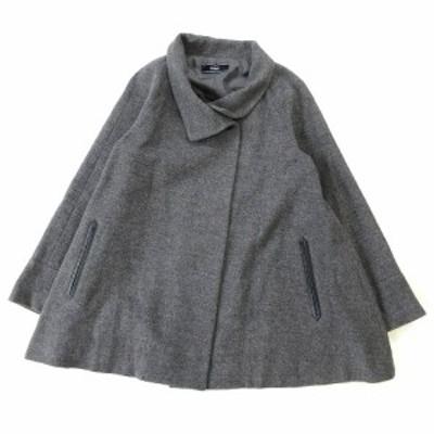 【中古】美品 エスピエ ESPIE ウール混 コート ジャケット ブルゾン 38 グレー レディース