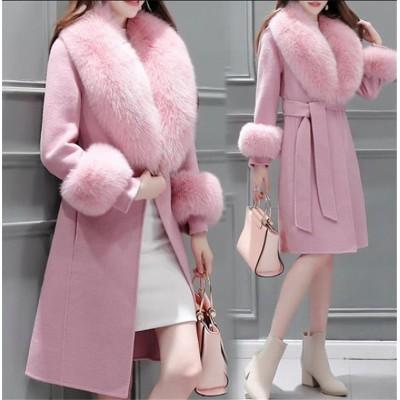 ●冬日 ファッション ウールコート レディース 冬物 冬服 秋冬物 暖かい 保温 冬 ロングコート。ウエストをきゅっと絞ればメリハリあるスマートなシルエットに◎