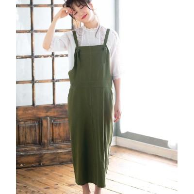 【ジーラ】 綿100%サロペットスカート       レディース カーキ L GeeRA