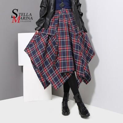 チェック柄スカート🌟欧米風ファッション アシンメトリースカート  イタリア・スタイル  韓国ファッション 3027