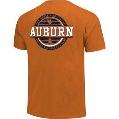 イメージワン Tシャツ トップス メンズ Image One Men's Auburn University Comfort Color Striped Stamp Short Sleeve T-shirt Orange