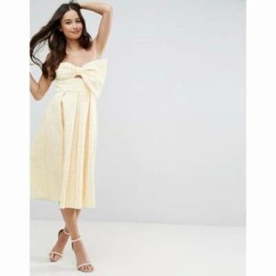 エイソス ワンピース ASOS Scuba Gingham Bow Front Midi Prom Dress Yellow