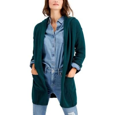 スタイル&コー Style & Co レディース カーディガン フード トップス Hooded Cardigan Tree Green