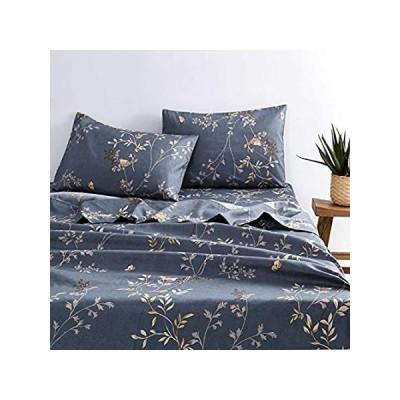Wake In Cloud - Gray Sheet Set, Birds Floral Flowers Leaves Pattern Printed