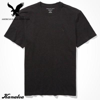 アメリカンイーグル Tシャツ 半袖 メンズ 無地 クルーネック グレー 大きいサイズあり