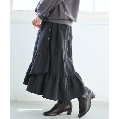 【オシャレウォーカー】 『フリルラップ風デザインスカート』 レディース ブラック 1(M~L) osharewalker
