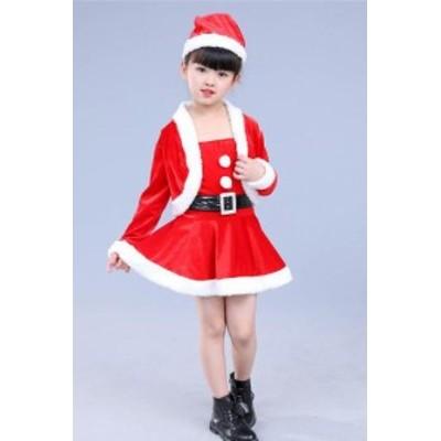 [100-150サイズ]サンタ セットアップ ボレロ スカート コスプレ クリスマス 衣装 4点セット 定番 サンタ 子供女の子服コスチューム