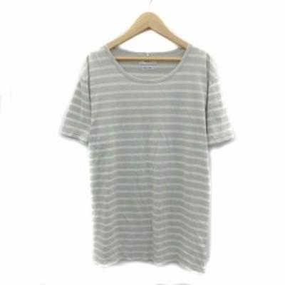 【中古】トゥデイフル Tシャツ カットソー 半袖 ラウンドネック ボーダー柄 薄手 F グレー ベージュ レディース