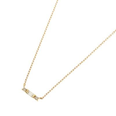 ココシュニック COCOSHNIK K18ダイヤモンド バゲットカット×サイドメレ ネックレス (イエローゴールド)