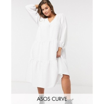 エイソス レディース ワンピース トップス ASOS DESIGN Curve seersucker tiered midi smock dress in white