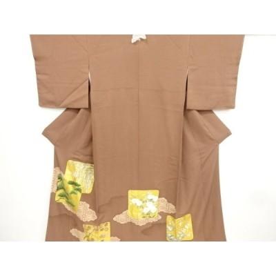 宗sou 金彩色紙に松・藤・楓模様刺繍一つ紋色留袖(比翼付き)【リサイクル】【着】