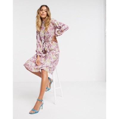クローゼットロンドン レディース ワンピース トップス Closet London high neck puff sleeve midi dress in ivory floral Multi