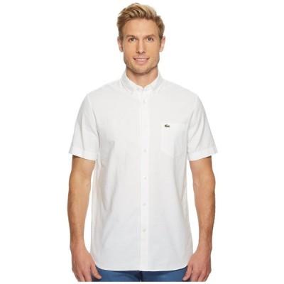ラコステ Lacoste メンズ 半袖シャツ トップス Short Sleeve Oxford Button Down Collar Regular White
