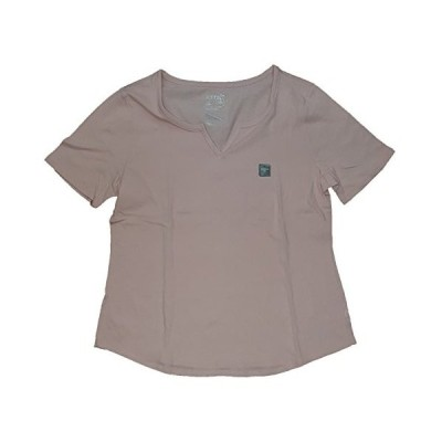 Women's Plus Size Daylily Pink Notch Split Neck Tee - 2X