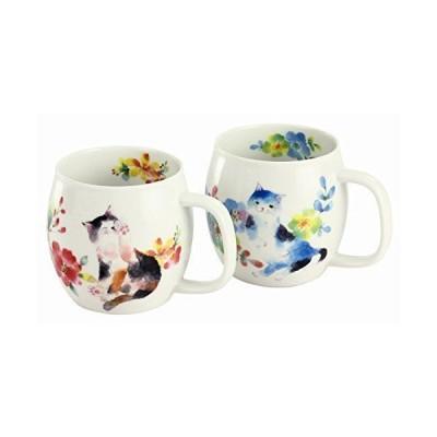 セラミック藍 花猫 ペアマグカップセット レッド/ブルー サイズ:約φ7.8 H8.8 13383