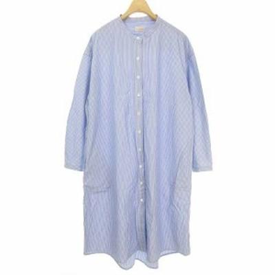 【中古】デイズ days d.comfort ロング シャツ ワンピース バンドカラー ストライプ 長袖 FREE ブルー系 レディース