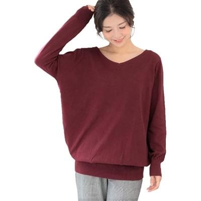 ニット セーター ゆったり 綿100% ワイド リブ プルオーバー Vネック トップス 長袖(バーガンディ, 4L-5L)
