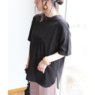 (and Me.../アンドミー)USAコットン半袖オーバーサイズ裾ラウンドTシャツ トップス/レディース ブラック