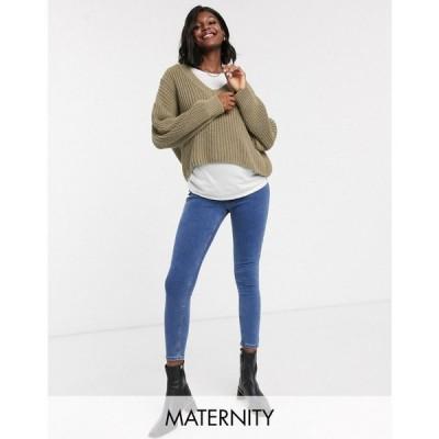 トップショップ マタニティー Topshop Maternity レディース ジーンズ・デニム ボトムス・パンツ joni overbump skinny jeans in mid wash ブルー