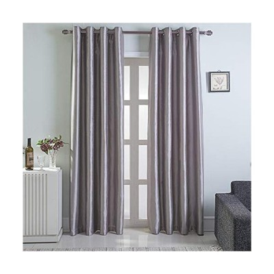 GYROHOME Faux Silk Blackout Curtains, Fully Lined Solid Color Window Treatment Drapes for Bedroom and Living Room Thermal Insulated Grommet