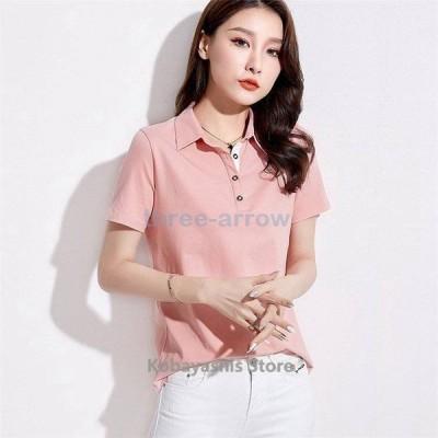 ポロシャツレディース半袖白ゆったり大きいサイズTシャツ綿厚手無地刺繍花柄