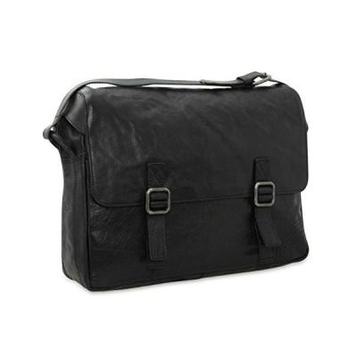 STILORD Leather Practical Messenger Bag Satchel Bag Notebook Bag College Office Bag Tote Genuine Leather Black 並行輸入品