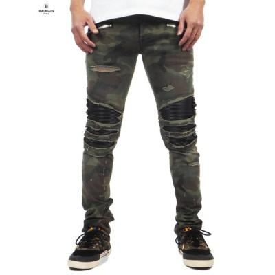 Balmain Homme バルマン オム BH1 PANTS RIBBED SLIM PANTS 15 / スリムカット カモフラージュ / リップドジーンズ スキニー 正規取扱店