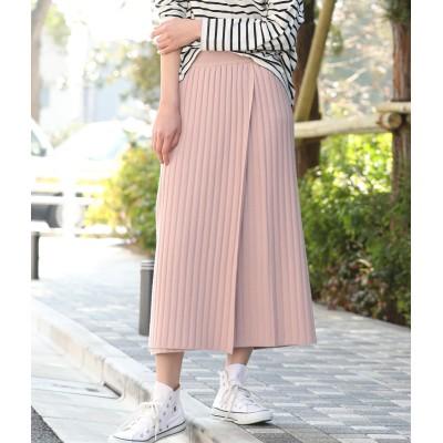 ViS(ビス)/【WEB限定】リブニット巻きスカート