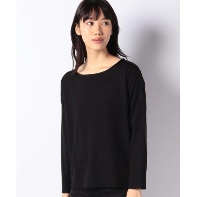 【メルローズ クレール】 シルケットポンチラウンドスクエアネックTシャツ レディース ブラック 3 MELROSE Claire