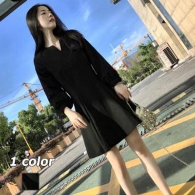 パフスリープワンピース ワンピース Vネックワンピース ワンピ ショート丈 フレア ブラック 長袖 上品 ファッション