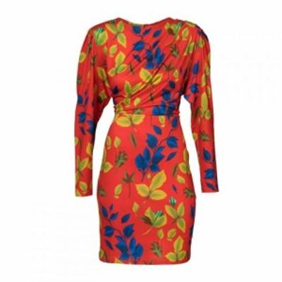 キャロライナ カブール Carolina Cavour レディース ワンピース ワンピース・ドレス Fitted Dress With Leaf Print Red