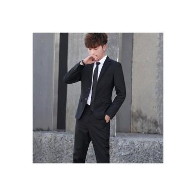 セットアップ スーツ メンズ 2つボタン ビジネススーツ ストレッチ ジャケット ロングパンツ スリム 2点セット 無地 耐久性 オシャレ