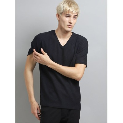 (TAKA-Q/タカキュー)吸汗速乾 幾何学ジャガードVネック半袖Tシャツ/メンズ ブラック