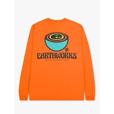 ブレインデッド BRAIN DEAD プリントTシャツ L/XL オレンジ トップス 長袖 ストリート EARTHWORKS L/S TEE -ORANGE-