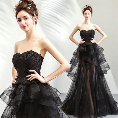 パーティードレス黒ウェディングドレス花嫁 ロングドレス 大きいサイズ フォーマル結婚式二次会 舞台衣装お呼ばれドレス披露宴ドレスライン 司会者 編み上げ