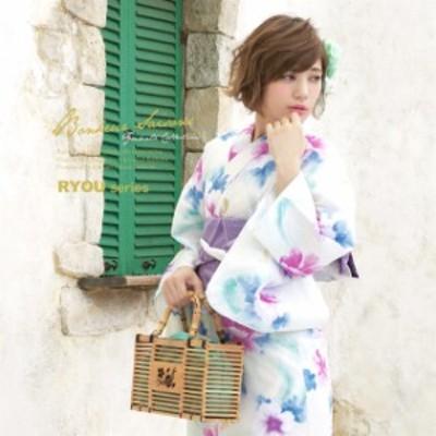 浴衣セット レディース レトロ 浴衣セット 大人 3点セット 白系 ホワイト 紫 芙蓉 花 蝶 流水 ラメ 綿 半幅帯 女性 ボヌールセゾン