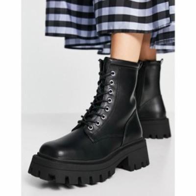 エイソス ASOS DESIGN レディース ブーツ スクエアトゥ レースアップブーツ シューズ・靴 Avid extreme square toe lace up boots in bla