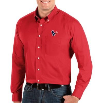 アンティグア Antigua メンズ シャツ トップス Houston Texans Dynasty Button Down Red Dress Shirt