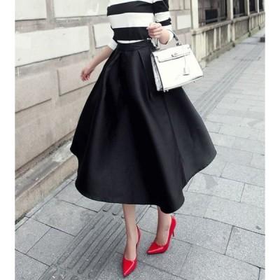 大きいサイズ 春服 夏服 スカート フレア ミディ丈 ミモレ丈 ギャザー タック レディース ふんわり 上品
