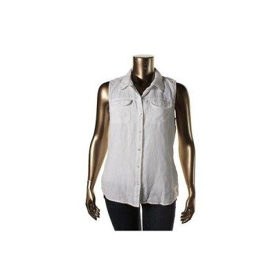 スリードッツ トップス ブラウス  Three Dots 4943 レディース ホワイト Linen Solid Button-Down Top Shirt XS BHFO
