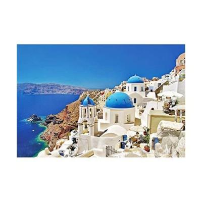 【送料無料】Aliturtle 1000 Piece Jigsaw Puzzles for Adults and Skilled Kids Age 12+, Bright Color Greece & Aegean Sea Santorini Landsc