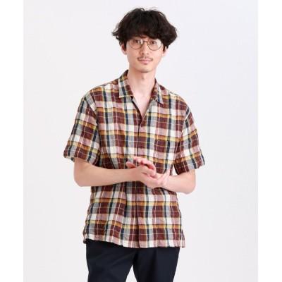 【マッキントッシュ フィロソフィー】 タータンチェックオープンカラーシャツ メンズ レッド 40(L) MACKINTOSH PHILOSOPHY