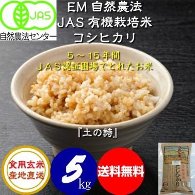 無農薬 有機米コシヒカリ食用玄米 5kg   JAS認定 土の詩 令和2年産 新米 JAS認定 お米 自然農法