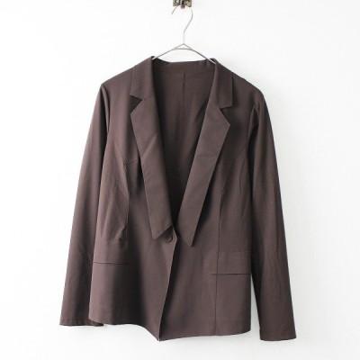 【スプリングセール】HIROKO KOSHINO ヒロココシノ ストレッチ 1ボタン ジャケット 38/ブラウン テーラード 2400011671981