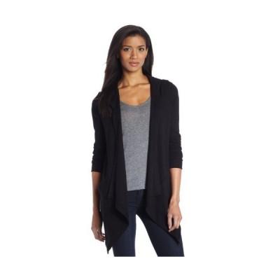 Splendid Women's Thermal Wrap Hooded Cardigan, Black, X-Small
